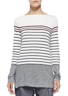 Mixed-Stripe Boat-Neck Tee   Mixed-Stripe Boat-Neck Tee