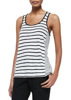 Mixed-Stripe Linen Tank, Chalk/Black   Mixed-Stripe Linen Tank, Chalk/Black