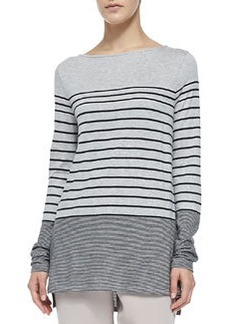 Mixed-Stripe Slub Tee, Heather Gray   Mixed-Stripe Slub Tee, Heather Gray