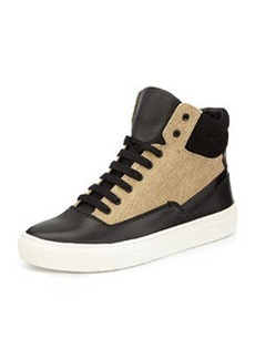 Vince Newman Leather-Canvas High-Top Sneaker, Black/Natural