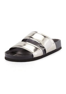 Vince Orion Metallic Leather Double-Band Slide, Pewter