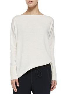 Ottoman Ribbed-Cuff Knit Sweater, Off White   Ottoman Ribbed-Cuff Knit Sweater, Off White