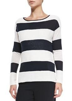 Ottoman Wide-Stripe Knit Sweater   Ottoman Wide-Stripe Knit Sweater
