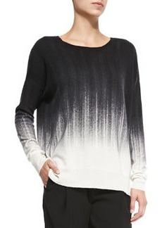 Painted Ombre Knit Sweater, White/Black   Painted Ombre Knit Sweater, White/Black