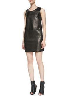 Paneled Sleeveless Leather/Ponte Dress   Paneled Sleeveless Leather/Ponte Dress