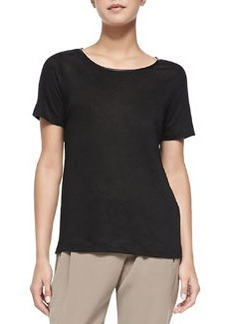 Piped Relaxed Linen Tee, Black   Piped Relaxed Linen Tee, Black