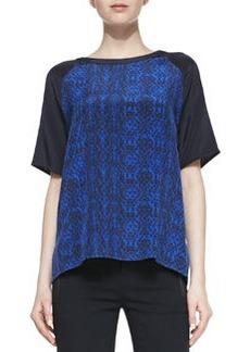 Printed Contrast-Sleeve Silk Tee   Printed Contrast-Sleeve Silk Tee