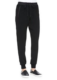 Pull-On Drawstring Jogging Pants, Black   Pull-On Drawstring Jogging Pants, Black