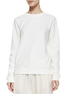 Quilted-Patch Knit Sweatshirt,  Winter White   Quilted-Patch Knit Sweatshirt,  Winter White