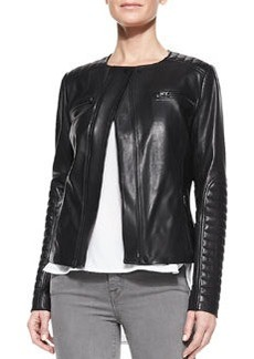Quilted-Patch Leather Moto Jacket   Quilted-Patch Leather Moto Jacket
