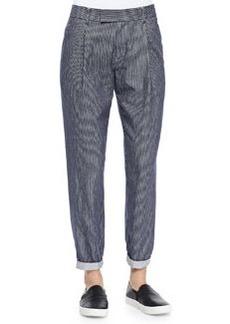 Railroad-Stripe Tapered Cotton Trousers   Railroad-Stripe Tapered Cotton Trousers