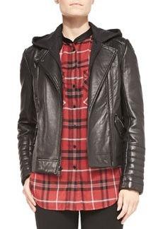 Removable-Hood Lambskin Moto Jacket   Removable-Hood Lambskin Moto Jacket