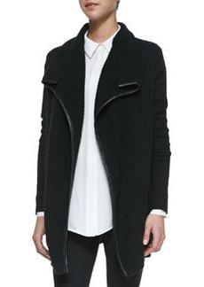 Ribbed Layout Drape Cardigan with Leather Trim, Black   Ribbed Layout Drape Cardigan with Leather Trim, Black