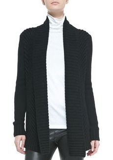 Ribbed Open-Front Knit Cardigan, Black   Ribbed Open-Front Knit Cardigan, Black