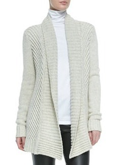 Ribbed Open-Front Knit Cardigan, Soft Gray   Ribbed Open-Front Knit Cardigan, Soft Gray