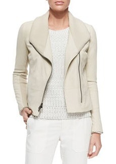 Ribbed/Leather Fitted Jacket, Off White   Ribbed/Leather Fitted Jacket, Off White