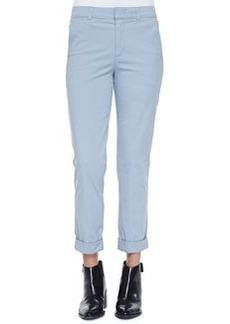 Rolled-Cuff Boyfriend Trousers, Slate Blue   Rolled-Cuff Boyfriend Trousers, Slate Blue