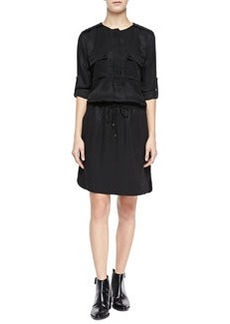 Rolled-Sleeve Cargo Dress, Black   Rolled-Sleeve Cargo Dress, Black
