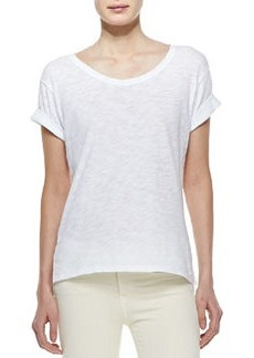 Rolled-Sleeve Cotton Tee, White   Rolled-Sleeve Cotton Tee, White