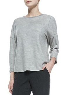 Rolled-Sleeve Slub-Knit Top   Rolled-Sleeve Slub-Knit Top