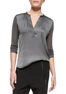 Satin-Front Loose Jersey Top,  Slate   Satin-Front Loose Jersey Top,  Slate