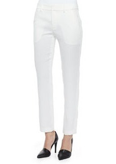 Satin-Striped Tuxedo Trousers, Chalk   Satin-Striped Tuxedo Trousers, Chalk