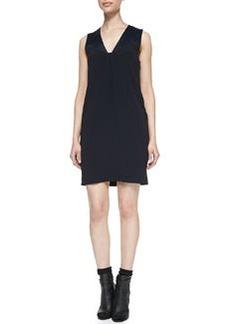 Satin-Top Sleeveless Crepe Dress   Satin-Top Sleeveless Crepe Dress