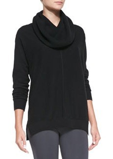 Seamed Cowl-Neck Sweater, Black   Seamed Cowl-Neck Sweater, Black