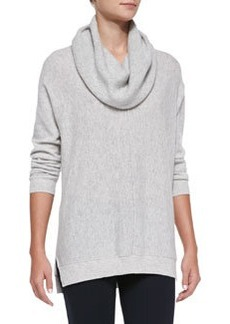 Seamed Cowl-Neck Sweater, Heather Snow   Seamed Cowl-Neck Sweater, Heather Snow