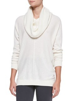 Seamed Cowl-Neck Sweater, Winter White   Seamed Cowl-Neck Sweater, Winter White