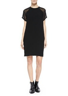 Sheer-Sleeve Loose Crepe Dress, Black   Sheer-Sleeve Loose Crepe Dress, Black