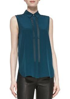 Sheer-Stripe Sleeveless Silk Blouse, Twilight   Sheer-Stripe Sleeveless Silk Blouse, Twilight