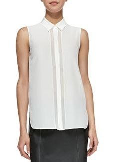 Sheer-Stripe Sleeveless Silk Blouse, White   Sheer-Stripe Sleeveless Silk Blouse, White