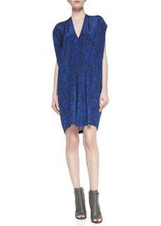 Short-Sleeve Double-V Silk Shift Dress   Short-Sleeve Double-V Silk Shift Dress