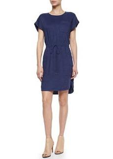 Vince Short-Sleeve Drawstring Slub Dress