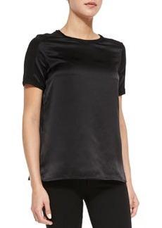 Short-Sleeve Satin Top, Black   Short-Sleeve Satin Top, Black
