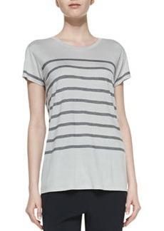 Short-Sleeve Striped Jersey Tee, Concrete/Coastal   Short-Sleeve Striped Jersey Tee, Concrete/Coastal