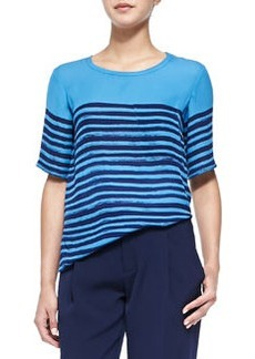 Short-Sleeve Tee W/ Marker Stripes, Ocean/Marine Blue   Short-Sleeve Tee W/ Marker Stripes, Ocean/Marine Blue
