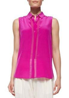 Silk Button-Up Sleeveless Top   Silk Button-Up Sleeveless Top