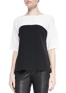 Silk Colorblock Short-Sleeve Blouse   Silk Colorblock Short-Sleeve Blouse