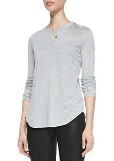 Silk-Contrast Long-Sleeve Henley Top   Silk-Contrast Long-Sleeve Henley Top