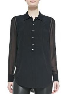 Silk/Rayon Tuxedo Blouse, Black   Silk/Rayon Tuxedo Blouse, Black