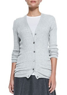 Skinny-Rib Cardigan, Lt. Heather Gray   Skinny-Rib Cardigan, Lt. Heather Gray