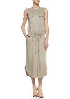 Sleeveless Drawstring-Waist Cargo Dress   Sleeveless Drawstring-Waist Cargo Dress