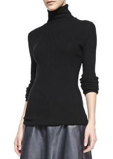 Slim Ribbed Knit Turtleneck, Black   Slim Ribbed Knit Turtleneck, Black