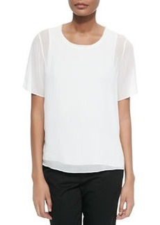 Solid Blouse with Sheer Overlay   Solid Blouse with Sheer Overlay