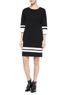 Stripe-Trim Knit Dress, Off White/Black   Stripe-Trim Knit Dress, Off White/Black
