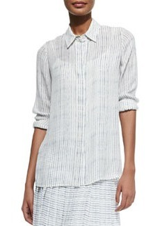 Striped Button-Front Blouse   Striped Button-Front Blouse