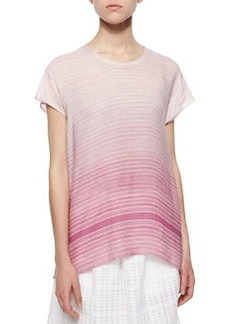 Striped Cap-Sleeve High-Low Top   Striped Cap-Sleeve High-Low Top