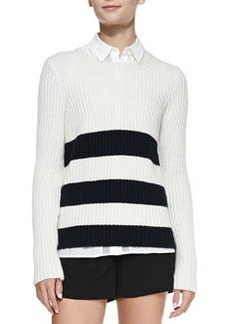 Striped Ribbed Knit Long Sweater   Striped Ribbed Knit Long Sweater